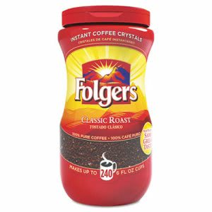 Folgers Instant Coffee Crystals, Classic Roast, 16 oz Jar (FOL06922)