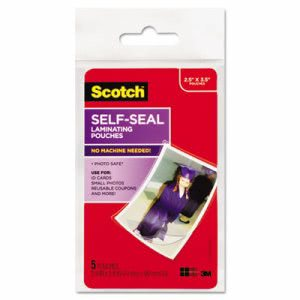 Scotch Self-Sealing Laminating Pouches, Wallet Size, 5 Pouches (MMMPL903G)