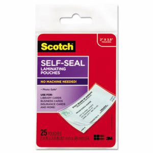 Scotch Self-Sealing Laminating Pouches, 2 7/16 x 3 7/8, 25 Pouches (MMMLS851G)