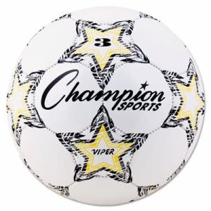 Champion Sports VIPER Soccer Ball, Size 3, White (CSIVIPER3)