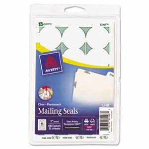 Avery Print or Write Mailing Seals, 1in dia., Clear, 480/Pack (AVE05248)