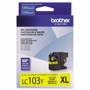 Brother LC103Y, LC-103Y, High-Yield Ink, 600 Page-Yield, Yellow (BRTLC103Y)
