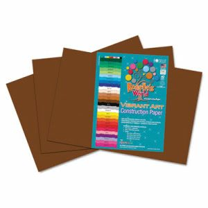 Roselle Heavyweight Construction Paper, 58 lbs., 12 x 18, Dark Brown, 50 Sheets/Pack (RLP62102)