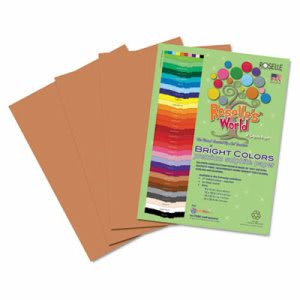 Roselle Premium Sulphite Construction Paper, 76 lbs., 12 x 18, Light Brown, 50/Pack (RLP74702)