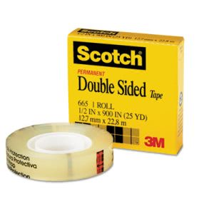 "Scotch Double Sided Office Tape, 1/2"" x 900"", 1"" Core, Clear (MMM66512900)"