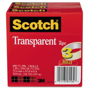 Scotch Transparent Tape 3 Pack, 3 Rolls (MMM600723PK)