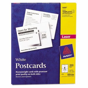 Avery Laser Postcards, 5 1/2 x 4 1/4, White, 200 Cards(AVE5689)