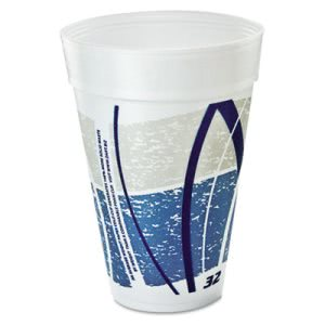 Dart Hot/Cold Foam Cups, 32oz, Printed, Blue/Gray, 500 Cups (DCC32TJ32E)