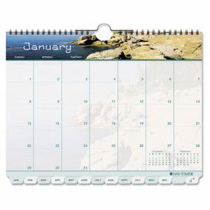 Day-timer Coastlines Tabbed 12-Month Wirebound Wall Calendar, 11 x 8-1/2, 2014 (DTM113521401)