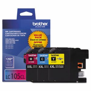 Brother LC-105, High-Yield Ink, Cyan, Magenta, Yellow, 3 per Pack (BRTLC1053PKS)