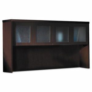 Mayline Aberdeen Series Laminate Glass Door Hutch, 72w x 15d x 39-1/4h, Mocha (MLNAHG72LDC)
