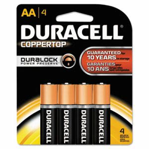 Duracell Alkaline Batteries with Duralock Power Preserve Technology, AA, 4/Pack (DURMN1500B4Z)