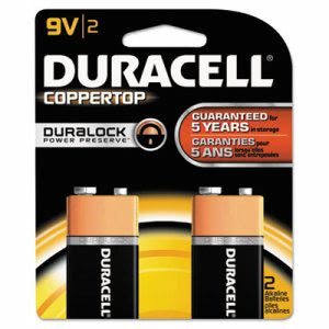 Duracell Alkaline Batteries with Duralock Power Preserve Technology, 9V, 2/Pack (DURMN1604B2Z)
