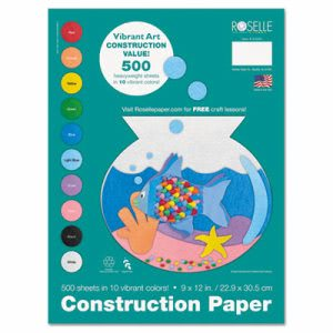 Roselle Heavyweight Construction Paper, 58 lbs., 9 x 12, Assorted, 500 Sheets/Pack (RLP01500)