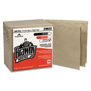 Brawny Industrial 3-Ply Paper Wipers, Quarterfold, Brown, 600 Wipers (GPC29922)