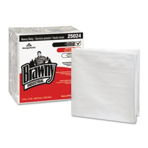 Brawny Industrial Heavy Duty Qrtrfld Shop Towels, White 840 Wipers (GPC25024)