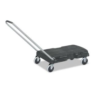 Rubbermaid Commercial Straight Handle Triple Trolley, 500-lb Cap, 20-1/2w x 32-1/2d x 35h, Black (RCP440120BLA)