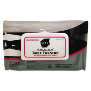 Nice Pak Table Turners No-Rinse Sanitizing Wipes, 8.2 x 9.8, White (NICM924SH)