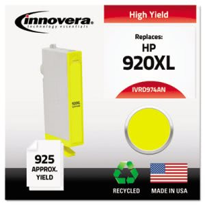 Innovera D974AN Compatible, Remanufactured, CD974AN (920XL) Ink, 655 Page-Yield, Yellow (IVRD974ANC)