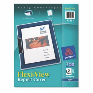 Avery Flexi-View Cover, Swing Clip, Letter, Clear/Navy, 2/Pack (AVE47851)