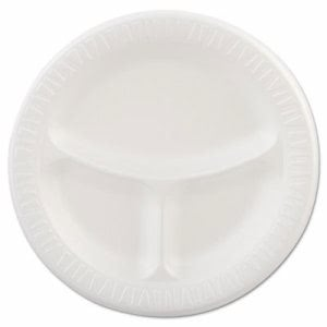 "Quiet Classic 9"" 3 Compartment Laminated Foam Plate, 500 Plates (DCC 9CPWQ)"