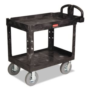 Rubbermaid 4520-10 HD 2-Shelf Utility with Pneumatic Casters (RCP452010BLA)