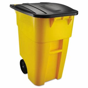 Rubbermaid Brute 50 Gallon Rollout Trash Can w/Lid, Yellow (RCP 9W27 YEL)