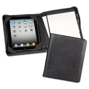 Samsill iPad Zipper Composition Pad Holder, Leather, Black (SAM70700)
