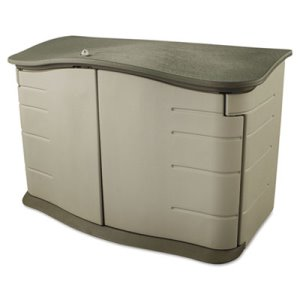 Rubbermaid Horizontal Outdoor Storage Shed, Sandstone/Olive (RHP 3748)