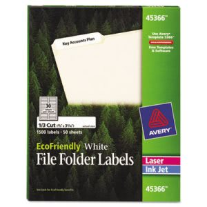 Avery EcoFriendly Labels, 2/3 x 3-7/16, White, 1500/Pack (AVE45366)