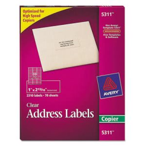 Avery Self-Adhesive Mailing Labels for Copiers, Clear, 2310 per Pack (AVE5311)