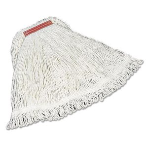 Rubbermaid D413 Super Stitch Rayon Mop Heads, White, Large, 6 Mops (RCPD413)