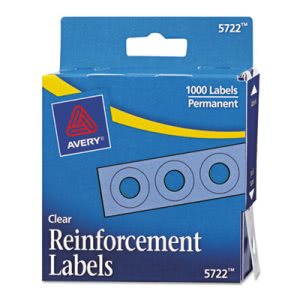 "Avery Hole Reinforcements, 1/4"" Diameter, Clear, 1000/Pack (AVE05722)"