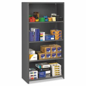 Tennsco Closed Commercial Steel Shelving, 5 Shelves, 36w x 24d x 75h, Medium Gray (TNNESPC2436MGY)