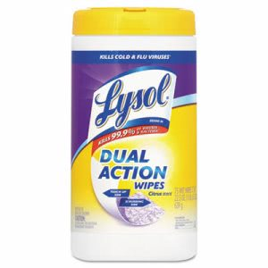 Lysol Brand Dual Action Citrus Disinfecting Wipes, 7x8, 75/Canister (RAC81700CT)