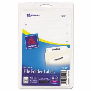 Avery Removable Inkjet/Laser Filing Labels, White, 252 Labels (AVE5230)