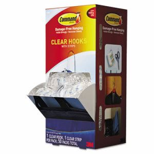 Command Clear Medium Plastic Hooks, 50 Hooks with 50 Strips (MMM17091CLRCABP)