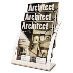 Deflect-O Three-Tier Magazine Holder, Silver (DEF693745)