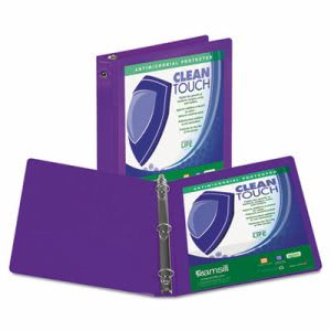 "Samsill Clean Touch Round Ring View Binder with Antimicrobial Protection, 1"", Purple (SAM17238)"