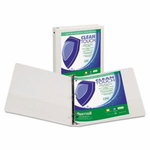 "Samsill Clean Touch Round Ring View Binder, 4"", White (SAM17297)"