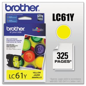 Brother LC61Y (LC-61Y) Ink, 500 Page-Yield, Yellow (BRTLC61Y)