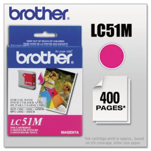 Brother LC51M Innobella Ink, 400 Page-Yield, Magenta (BRTLC51M)