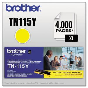 Brother TN115Y High-Yield Toner, 4000 Page-Yield, Yellow (BRTTN115Y)