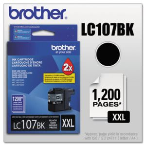 Brother LC107BK, High-Yield Ink, 1200 Page-Yield, Black (BRTLC107BK)
