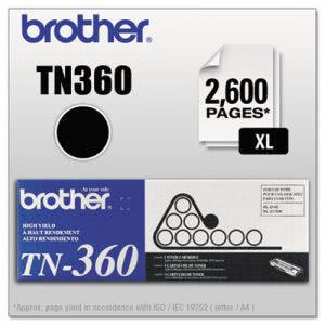 Brother TN360 High-Yield Toner, 2600 Page-Yield, Black (BRTTN360)