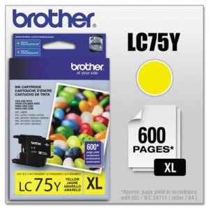 Brother LC75Y (LC-75Y) High-Yield Ink, 600 Page-Yield, Yellow (BRTLC75Y)