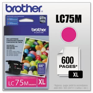 Brother LC75M (LC-75M) High-Yield Ink, 600 Page-Yield, Magenta (BRTLC75M)