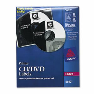 Avery Laser CD/DVD Disc Labels, Matte White, 40 Labels (AVE5692)