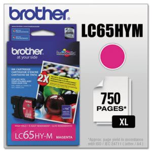 Brother LC65HYM (LC-65HYM) High-Yield Ink, 750 Page-Yield, Magenta (BRTLC65HYM)