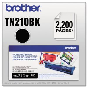 Brother TN210BK Toner, 2200 Page-Yield, Black (BRTTN210BK)